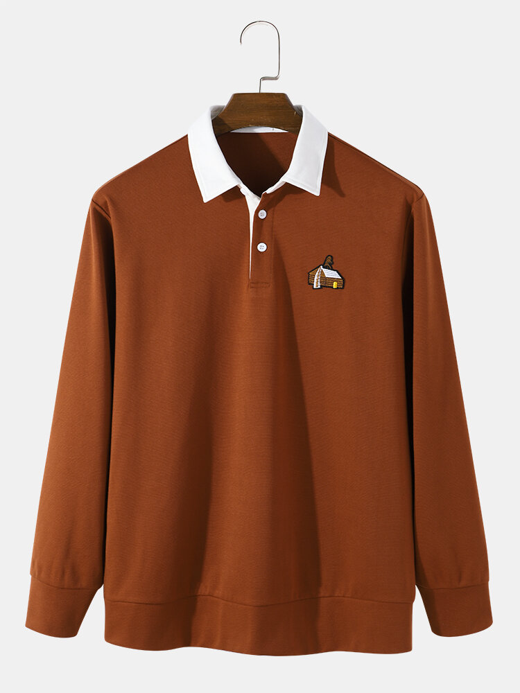 Mens Knit Embroidered Contrast Collar Casual Long Sleeve Golf Shirts