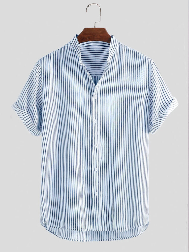 Mens Striped Breathable Stand Collar Short Sleeve Casual Loose Shirts