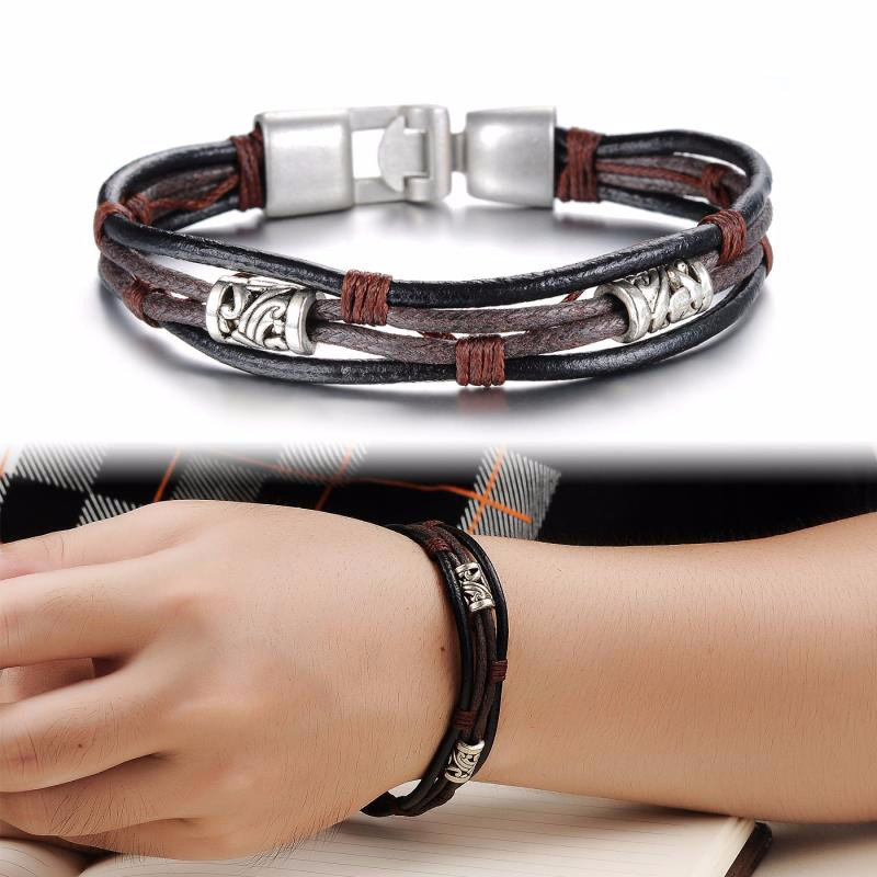 Vintage Multilayer Cuff Bracelet Leather Geometric Rope Bracelets Ethnic Jewelry for Men
