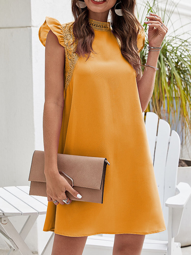 Women Lace Hollow Solid Color Sleeveless High Neck Casual Dress