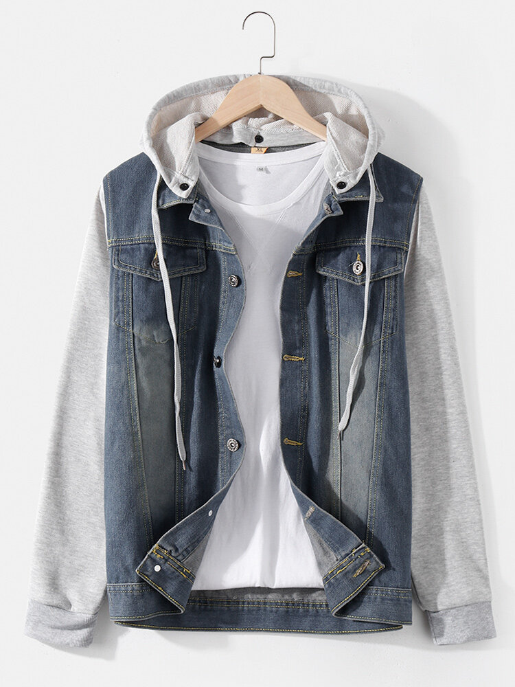 Mens Faux Twinset Patchwork Cotton Button Casual Hooded Denim Jackets