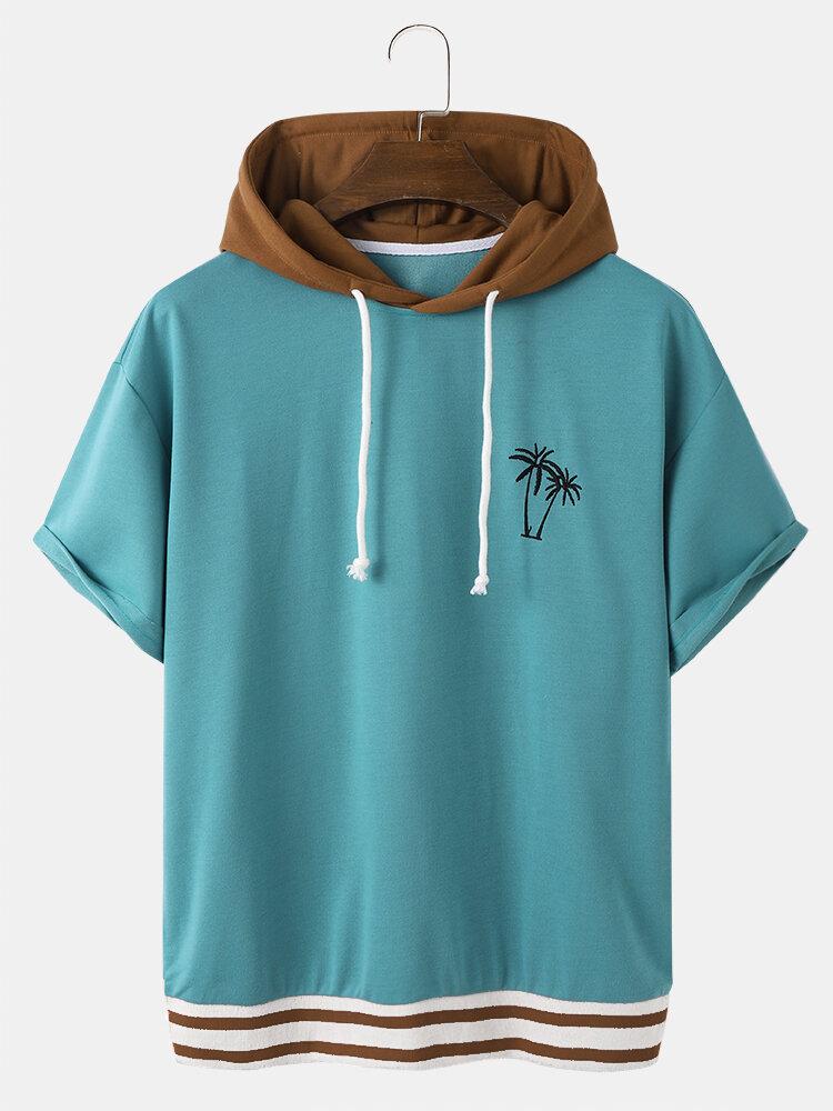 Designer Mens Coconut Tree Embroidery Patchwork Drop Shoulder Hooded T-Shirt