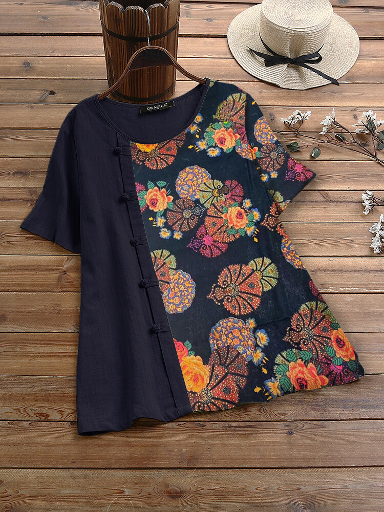 Vintage Print Frog Button Short Sleeve T-shirt For Women