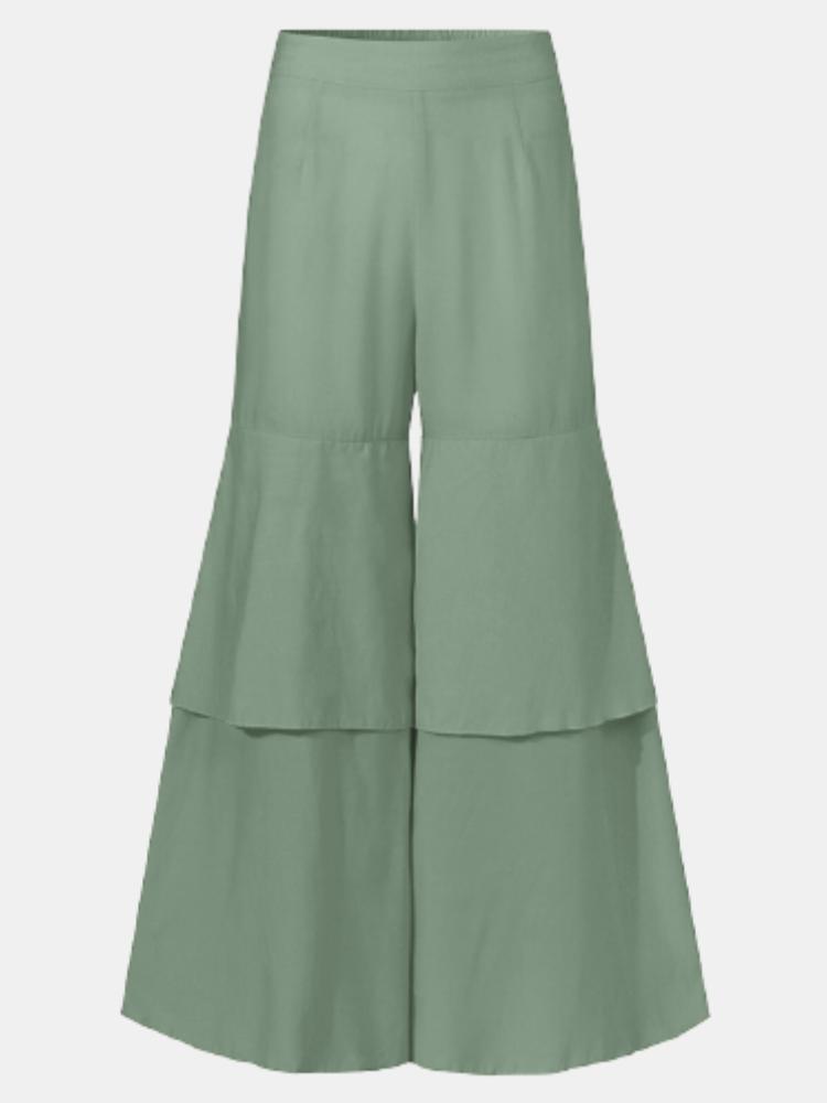 Casual Elastic Waist  Wide Leg Plus Size Ruffle Loose Pants for Women