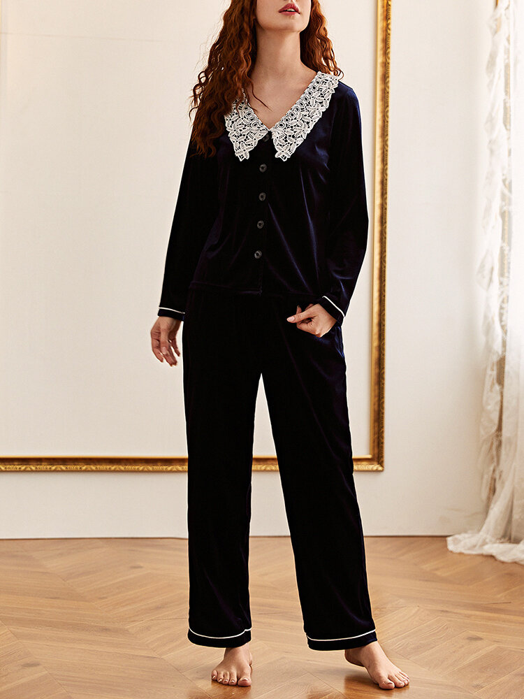Women Velour Lace Collar Button Up Cozy Long Pajamas Set With Contrast Binding