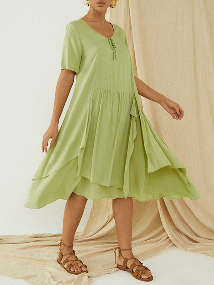 Summer Pleated Layers Short Sleeve Plus Size Schiffy Dress