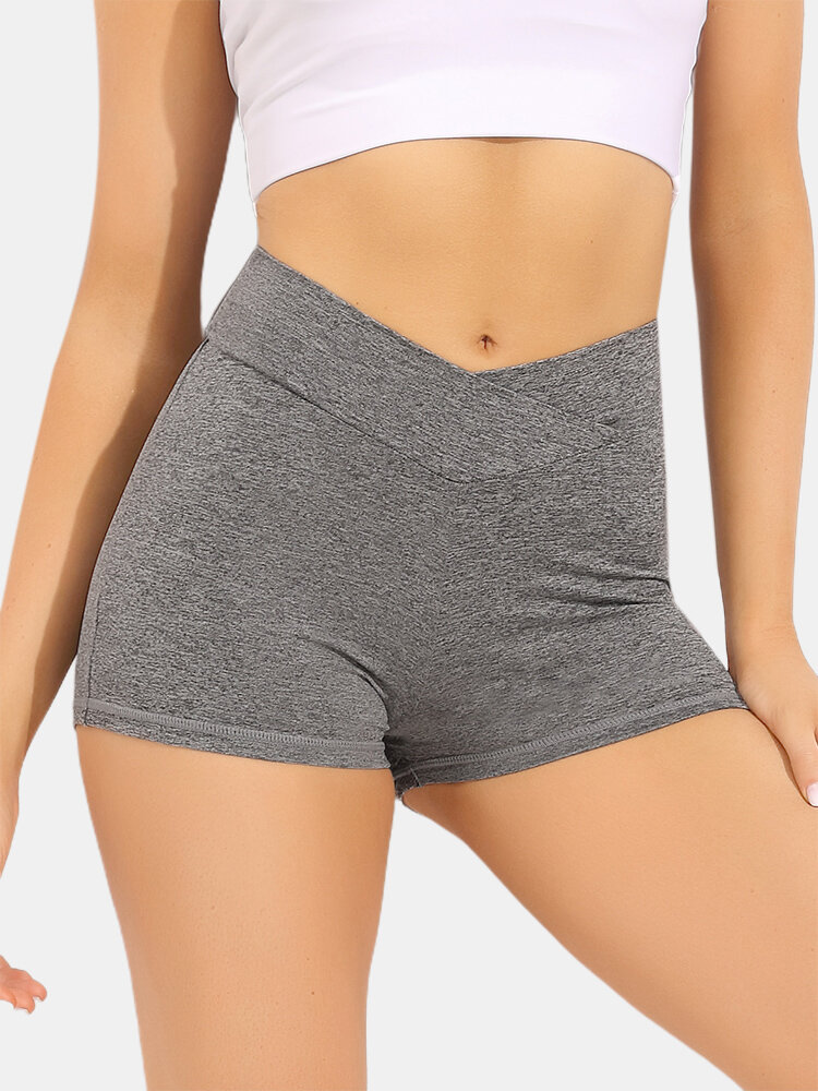 Women Breathable Quick-Drying Solid Seamless Skinny Fit High Waist Sports Biking Shorts