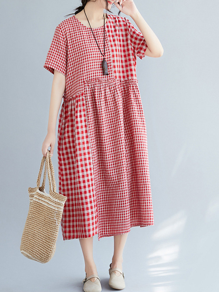 Maternity Vintage Cotton Linen Plaid Patch Loose Short-Sleeved Mid-Calf Dress With Pockets