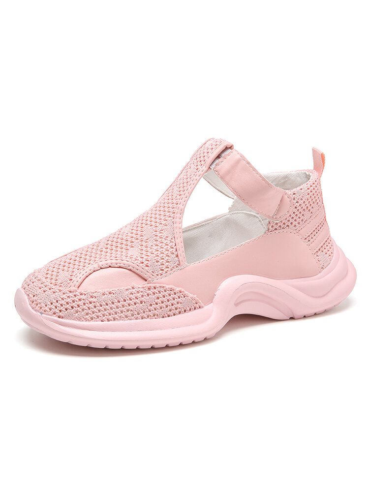 Women's Large Size Breathable Wearable Silod Color Hollow Sport Sandals