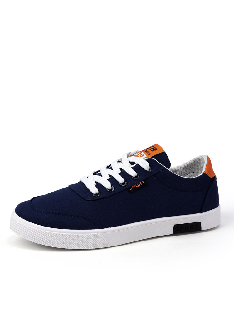 Men Lace-up Hard Wearing Round Toe Canvas Skate Shoes