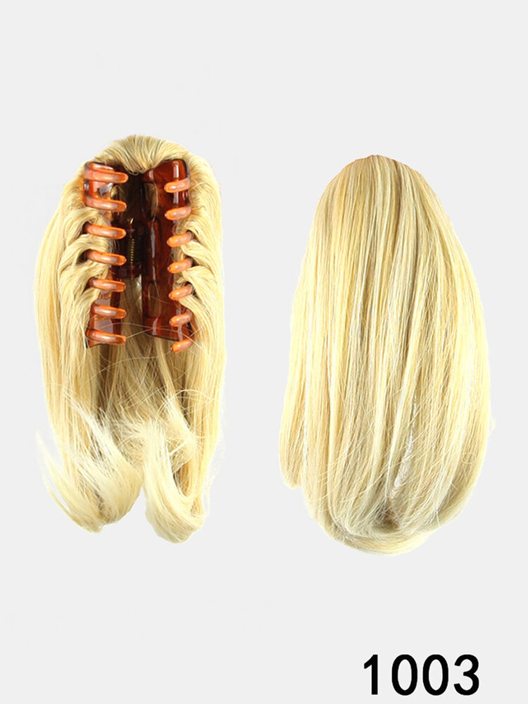 8 Colors Straight Hair Extensions High Temperature Fiber Catch Clip Small Ponytail
