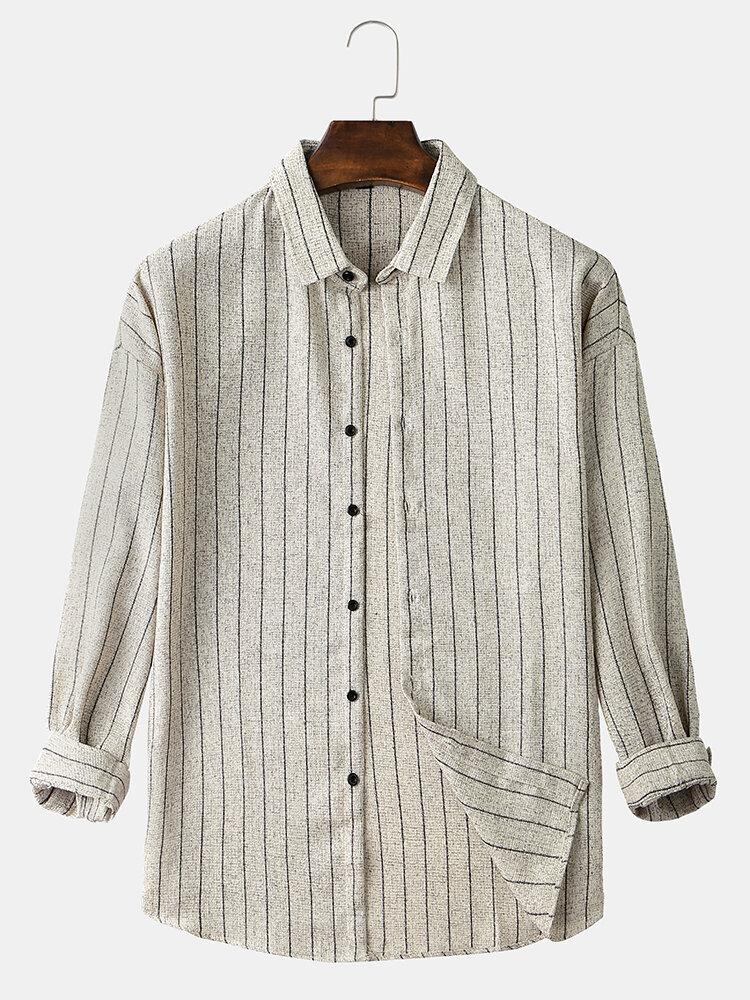 Mens Plain Striped Lapel Collar Casual Simple Thin Long Sleeve Shirts