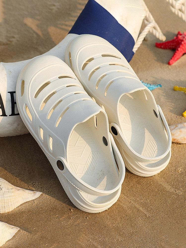 Plus Size Damen Casual Beach Große runde Zehe Ausgehöhlt Soft Sandalen