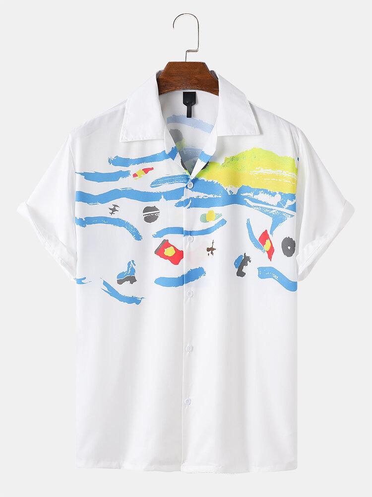 Mens Fun Graffiti Print White Revere Collar Short Sleeve Casual Holiday Shirt