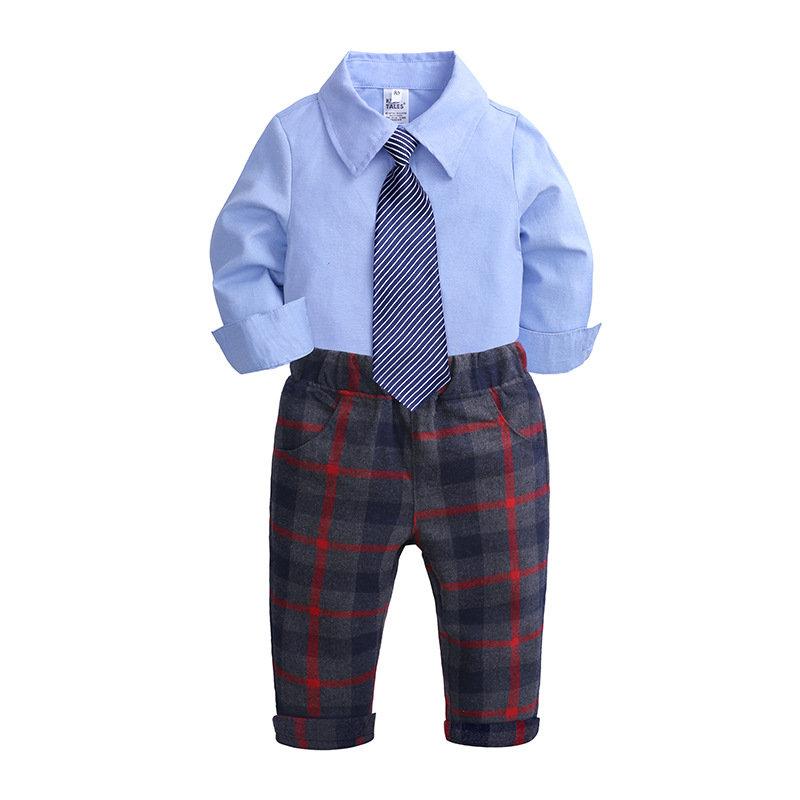 3Pcs Boys Formal Sets Tops + Long Pants + Tie For 1Y-9Y