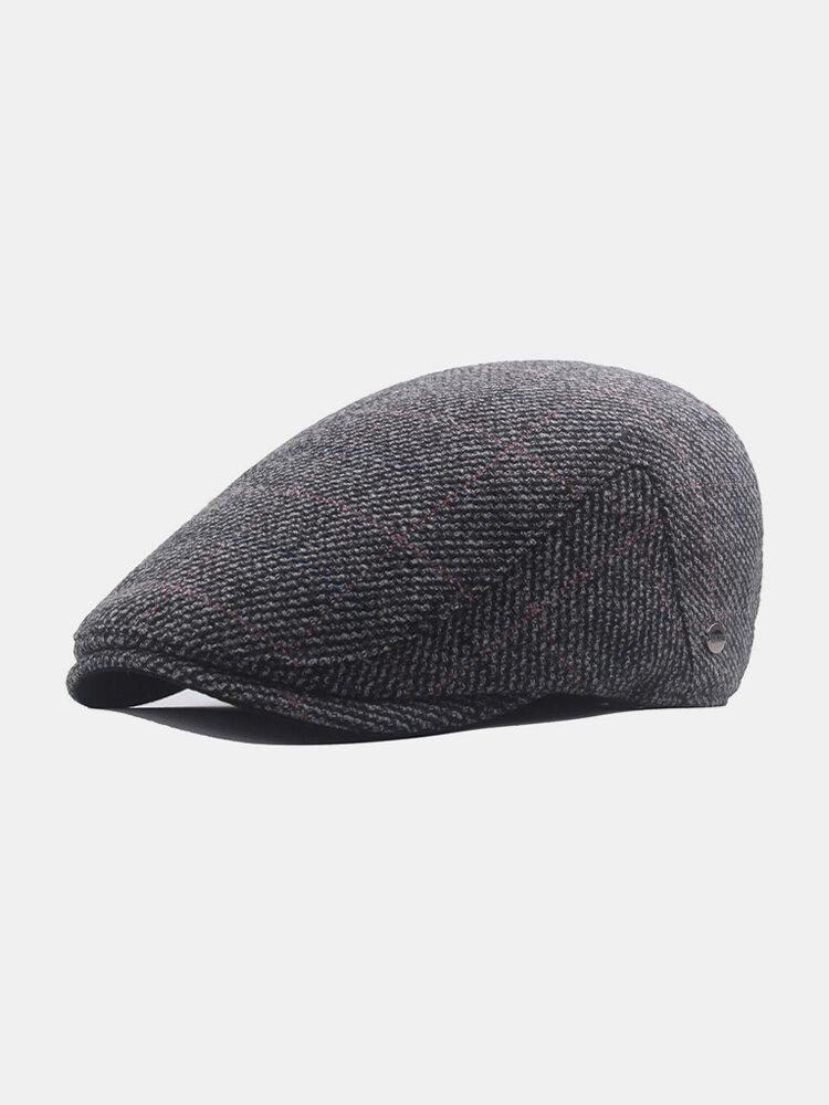 Men Plaid Pattern Adjustable Casual Flat Hat Forward Hat Beret Hat