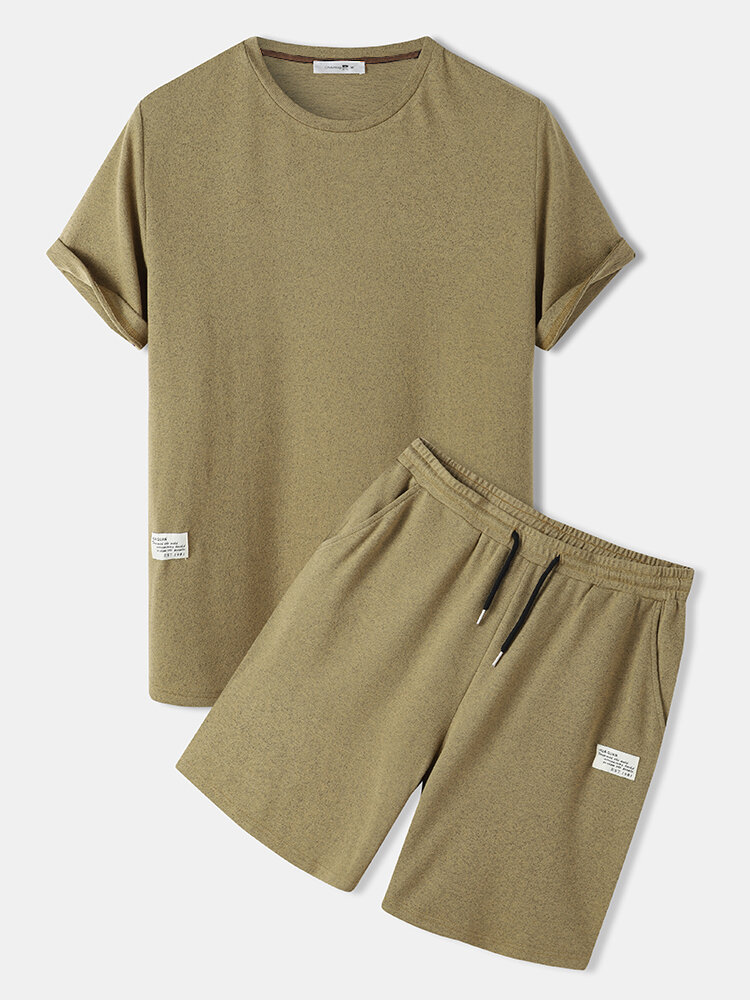 Mens Label Solid Color Knitted Casual Two Piece Outfits