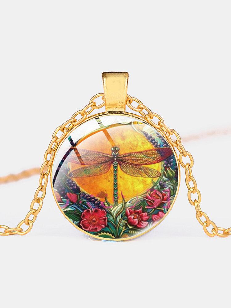 Vintage Dragonfly Printed Women Necklace Adjustable Flower Glass Pendant Necklace