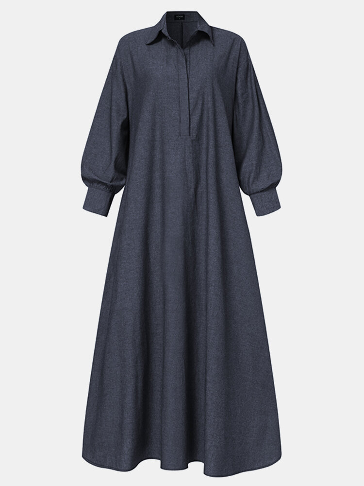 Solid Color Pocket Lapel Collar Long Sleeve Casual Dress For Women