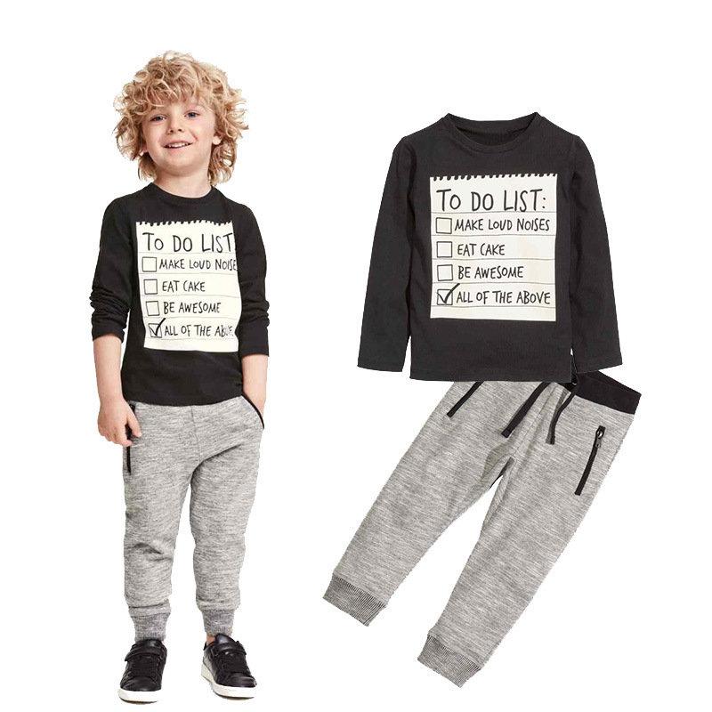 幼児男の子服セット3-11Yの長袖Tシャツ パンツ