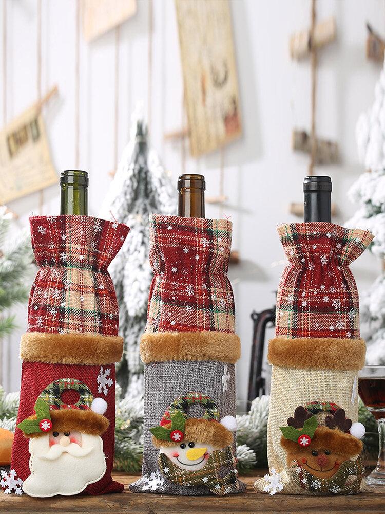 1 sac de bouteille de vin à carreaux de Noël bonhomme de neige vin rouge Champagne décorations de table de Noël