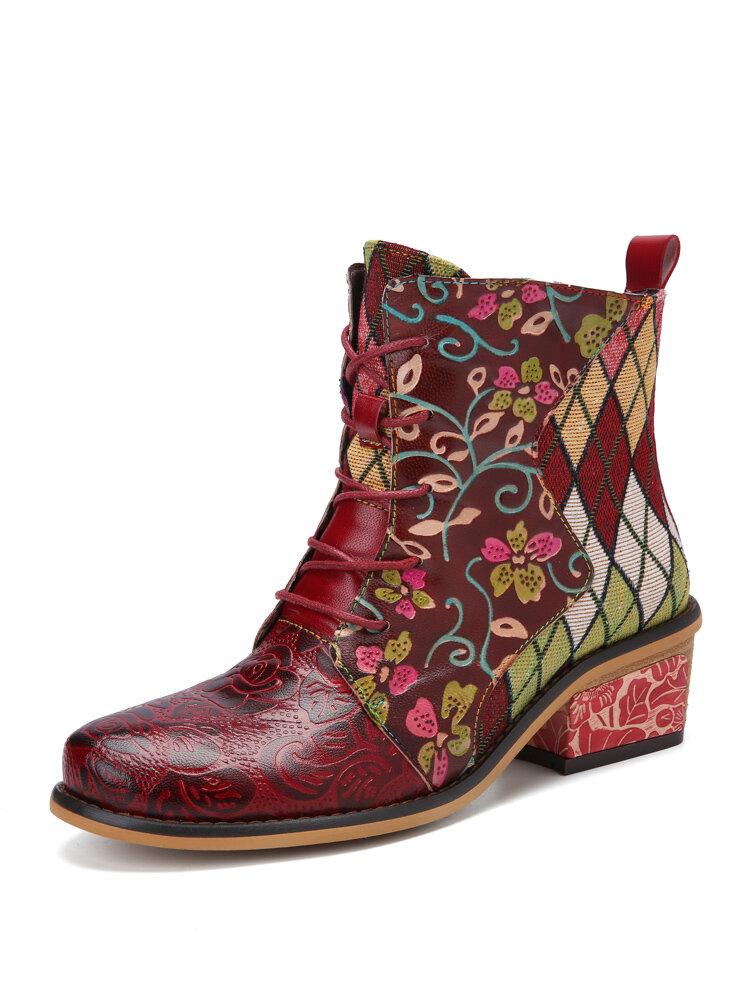 Sокофи Богемный цветочный принт Натуральная Кожа Шорты в стиле пэчворк на шнуровке с боковой молнией на низком каблуке Ботинки