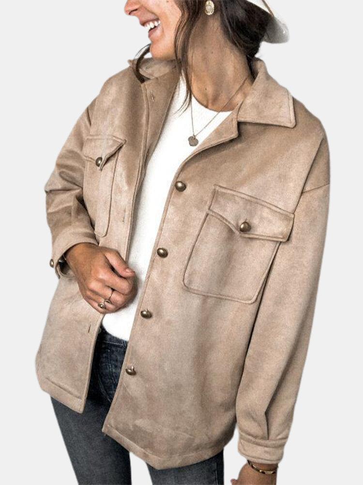 Однотонный пиджак с длинным рукавом и карманом на пуговицах с лацканами и воротником