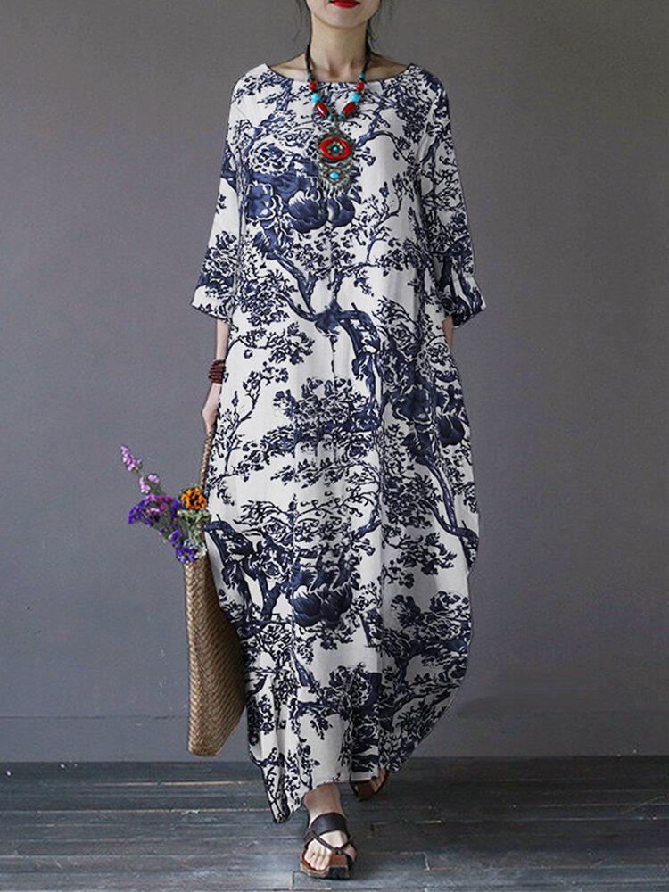 Tree Print Side Pockets O-neck 3/4 Sleeve Cotton Dress