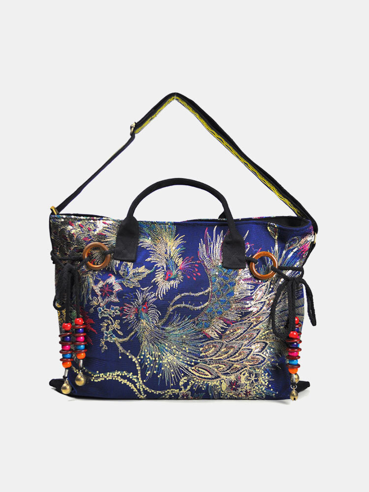 Women Ethnic Peacock Embroidery Tassel Handbag Tote