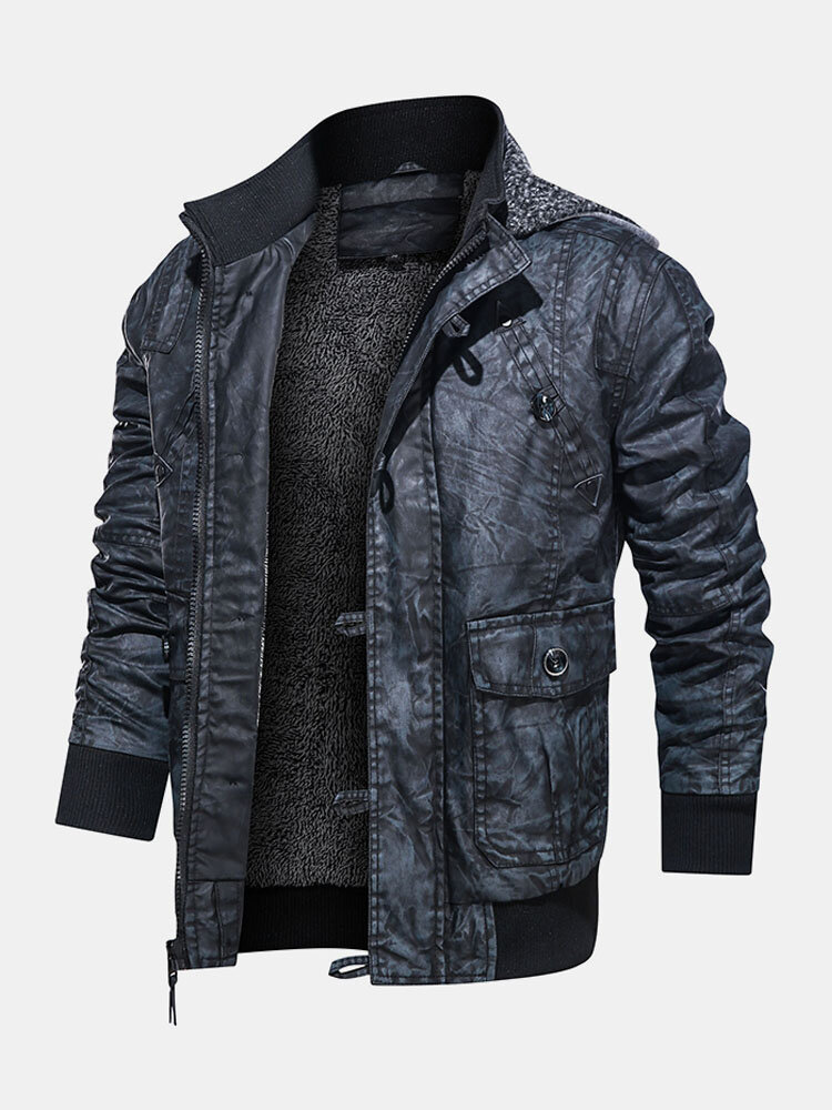 Mens PU Leather Motorcycle Down Lined Pocket Hooded Casual Jackets Coats