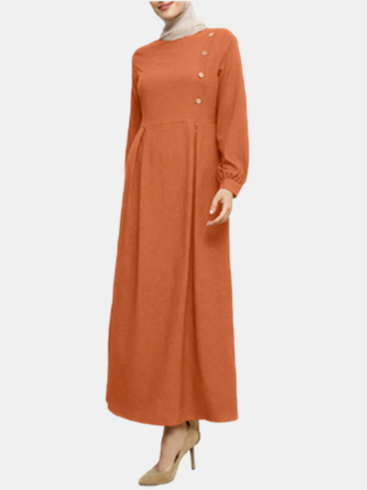 Casual Solid Color O-neck Long Sleeve Plus Size Button Dress for Women
