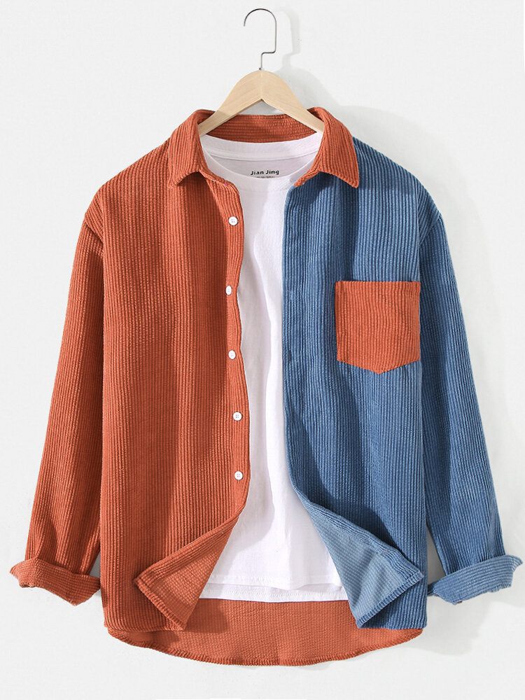 Mens Patchwork Corduroy Contrast Color Lapel Long Sleeve Shirts With Pocket