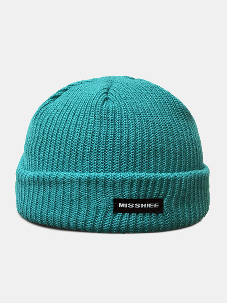 Unisex Acrylic Knitted Solid Color Letter Pattern Cloth Label Fashion Warmth Skull Cap Beanie Hat