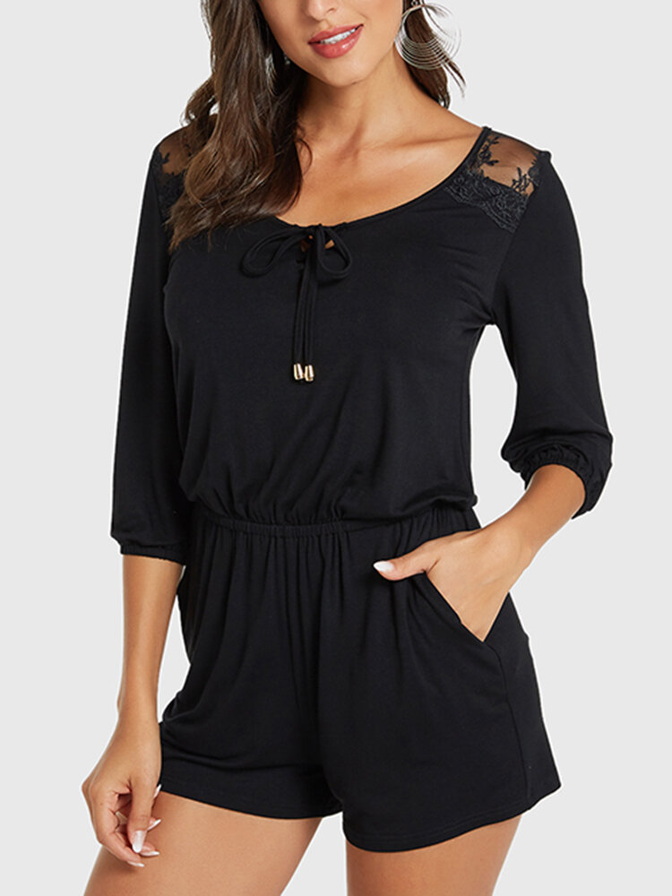 Solid Color Lace Knotted Pocket Three-quarters Sleeve Casual Rompers