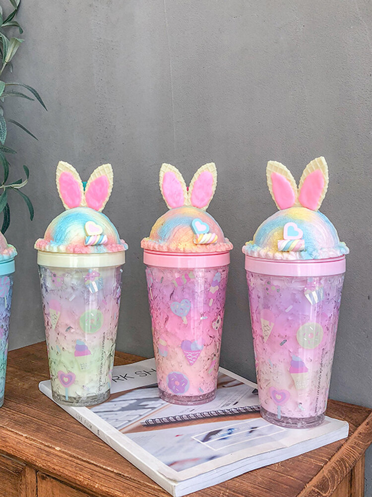 Animal Ears Gradient Straw Cups Go Out Portable Summer Double-Layer Large-Capacity Cups