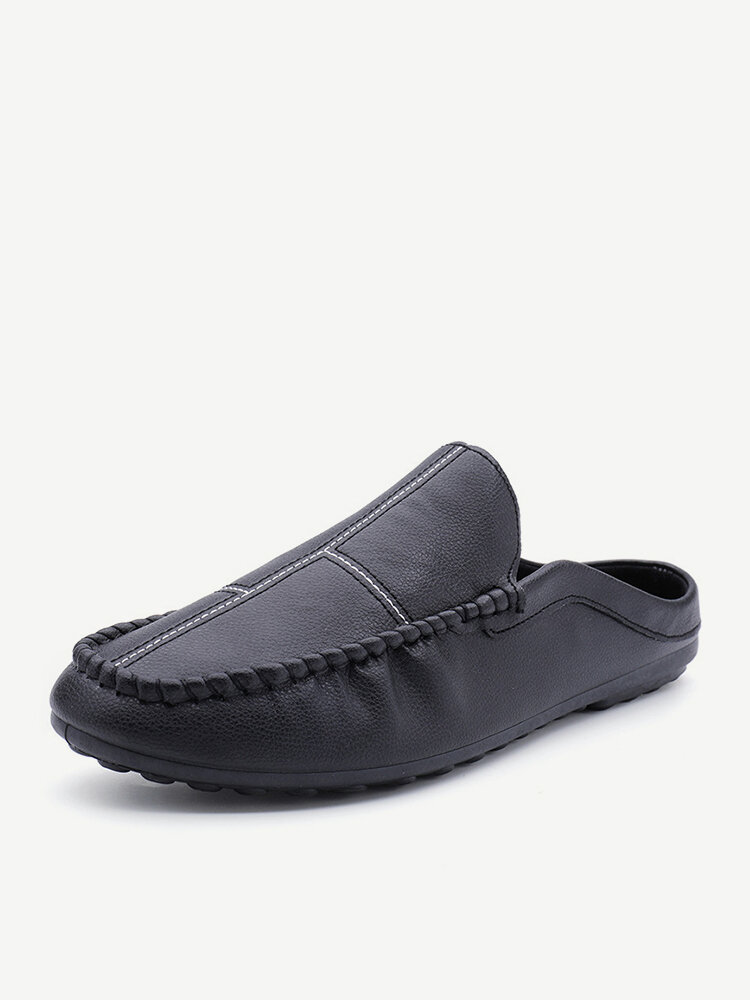 Men Closed Toe Backless Loafers Slip On Soft Slippers