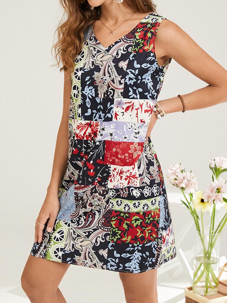 Vintage Flower Ethnic Pattern Print Sleeveless V-neck Women Dress