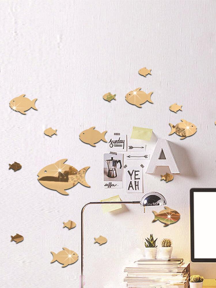 Наклейка на стену с пузырьковой рыбой, зеркальная наклейка с океанской рыбой, самоклеящаяся акриловая зеркальная настенная наклейка, подходит для детской комнаты, детского сада