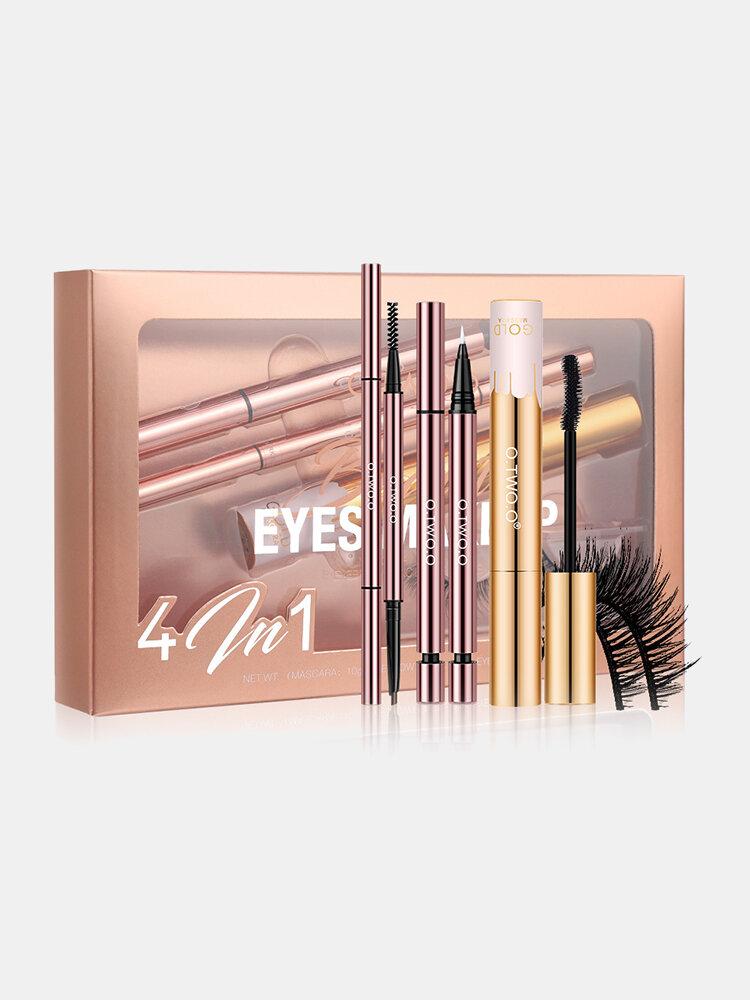 4 In 1 Eye Makeup Set Waterproof Non-Smudged Eyebrow Pencil Mascara Eyeliner Fake Eyelashes