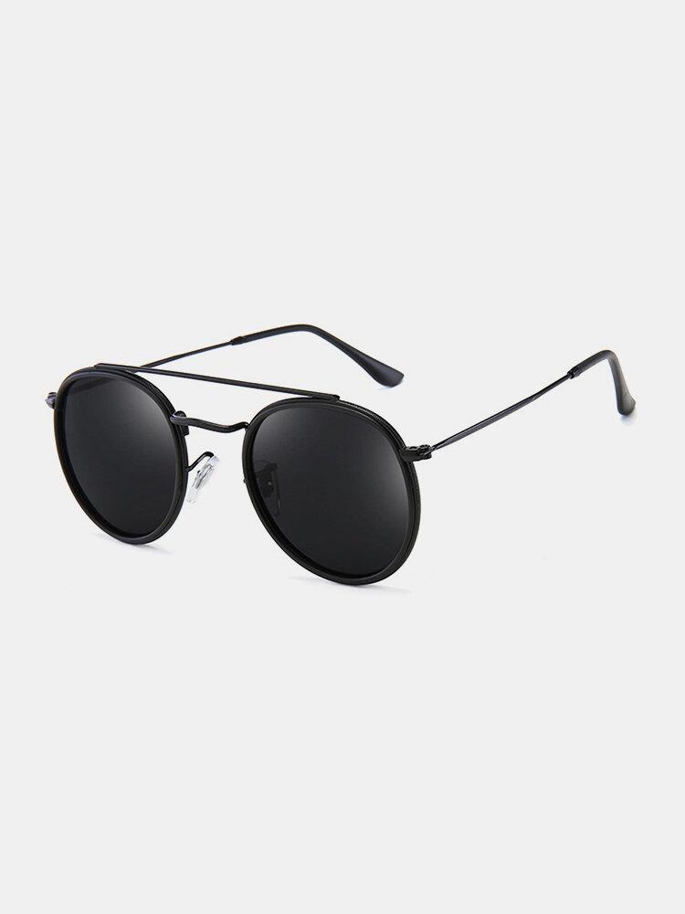 Unisex Metal Full Frame Double Beam High-definition Polarized UV Protection Sunglasses