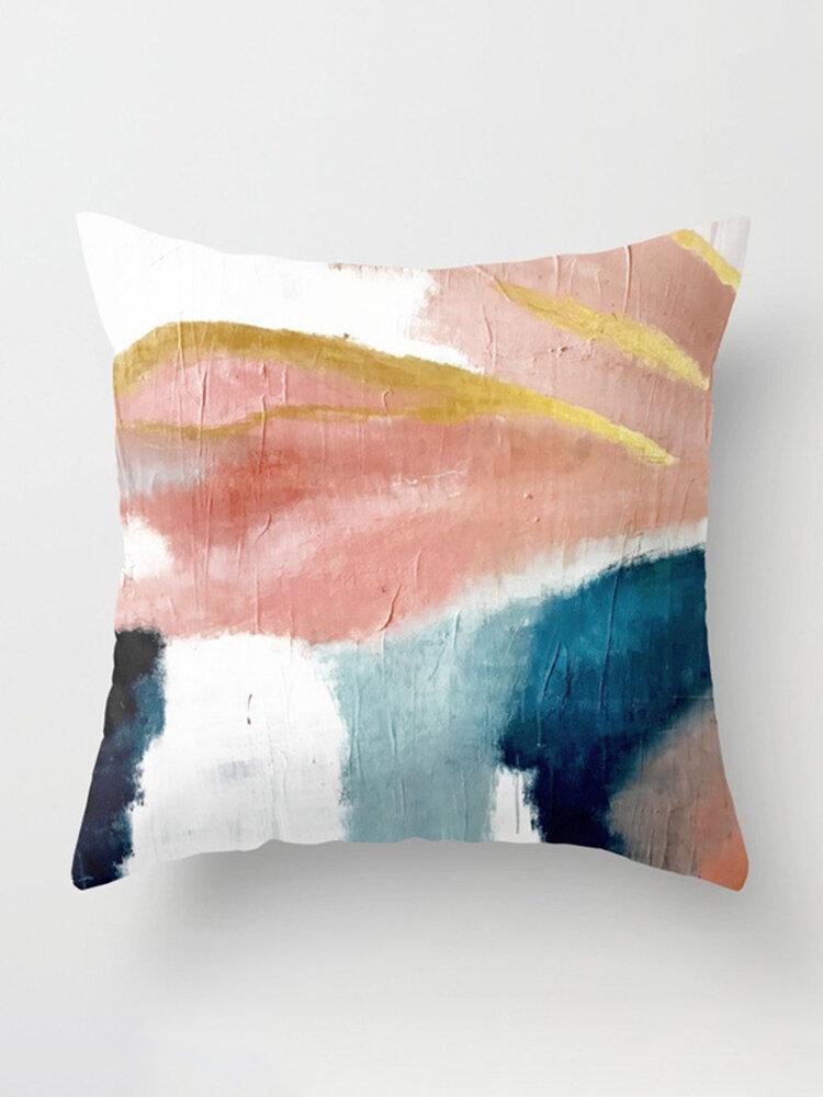 Funda de almohada de algodón de lino pintado de color abstracto INS, decoración de alféizar de ventana, fundas de almohada