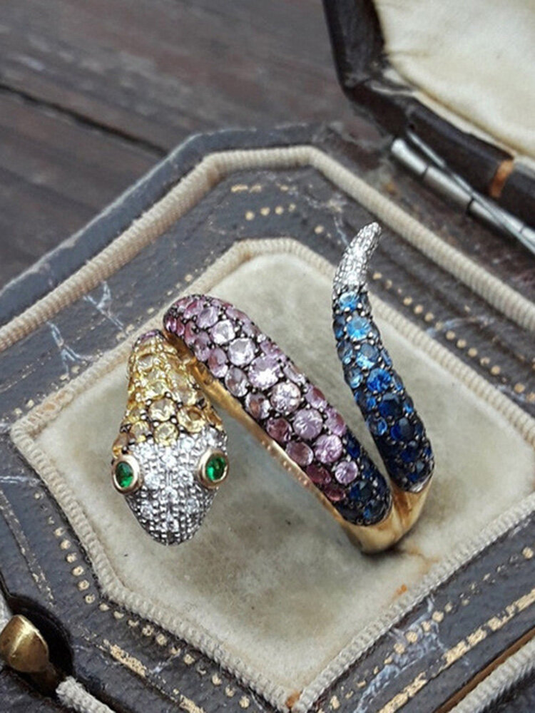Vintage Colored Inlaid Diamond Men Ring Snake-Shape Women Ring Jewelry Gift