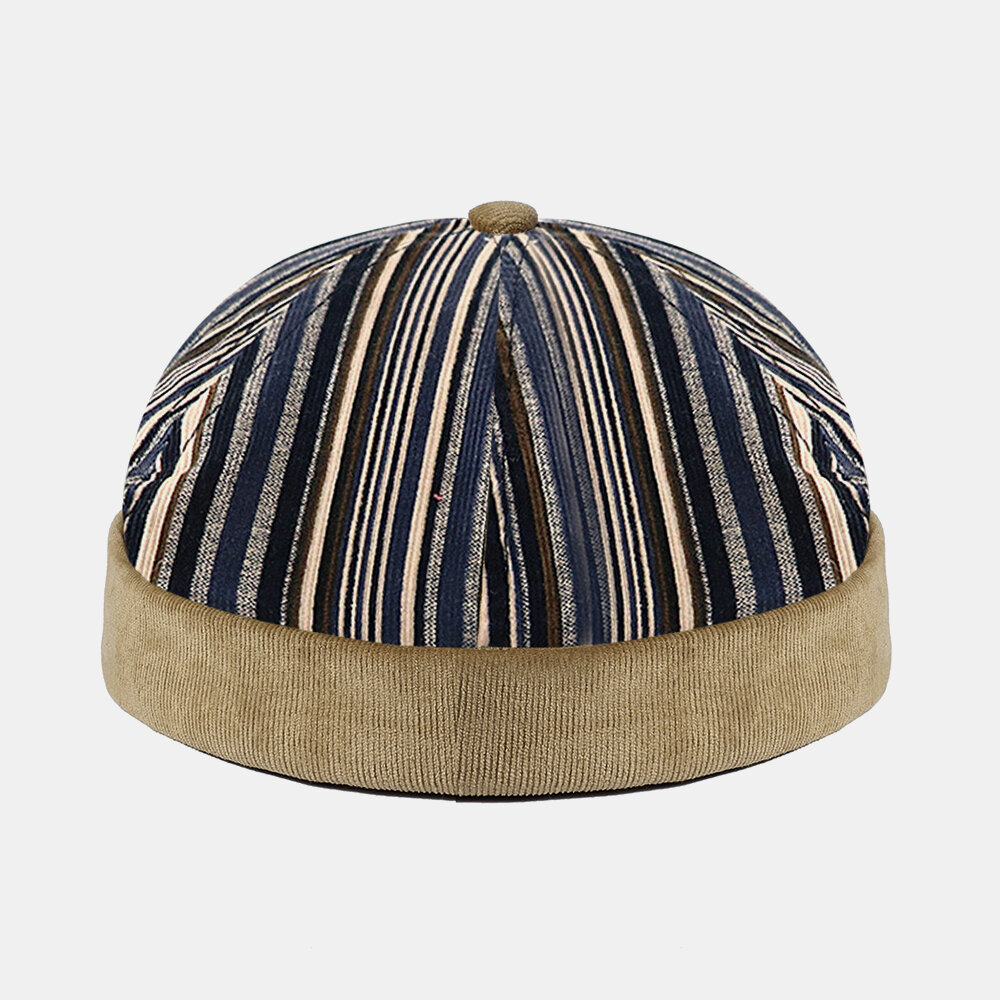 COLLROWN Men & Women Stitching Stripe Pattern Casual Brimless Beanie Landlord Cap Skull Cap