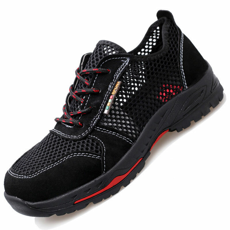 Men Fabric Mesh Comfy Breathable Steel Toe Casual Safety Shoes