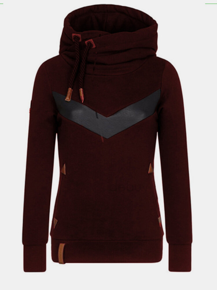 Contrast Color Long Sleeves Drawstring Patchwork Hoodies For Women