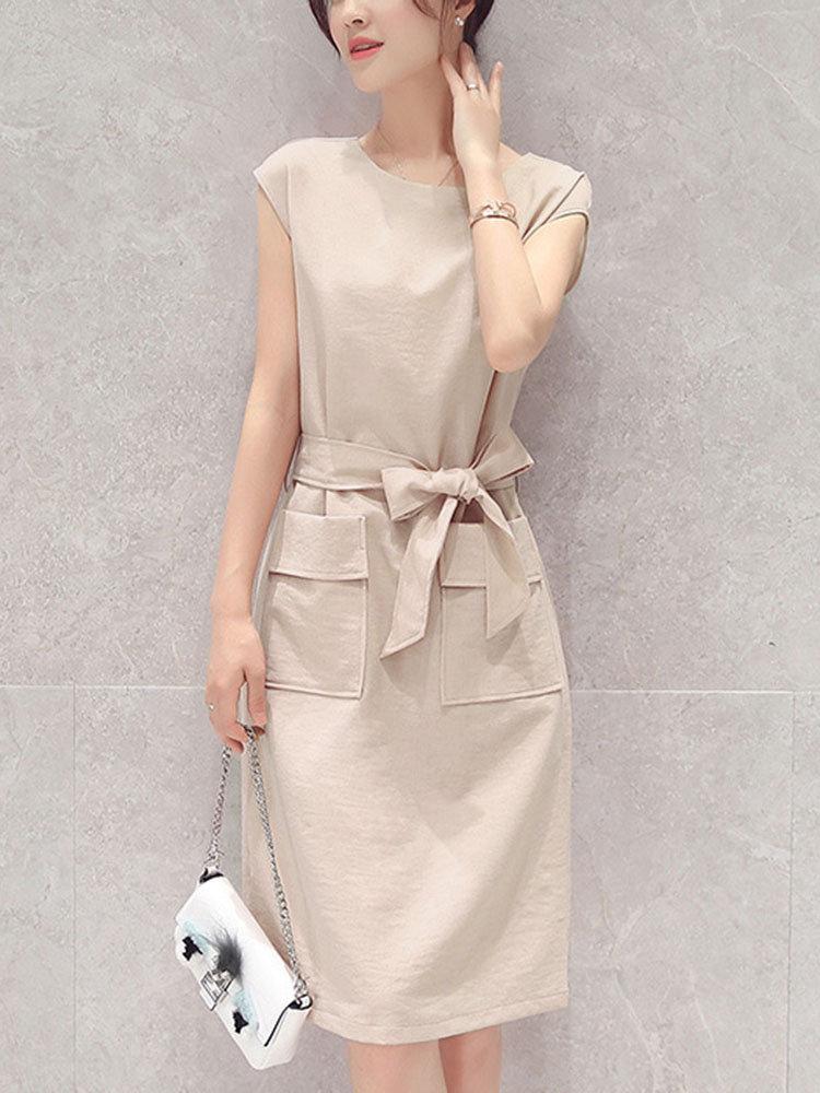 Cotton Linen Breathable Sleeveless Slim Tie Waist Solid Color Dress