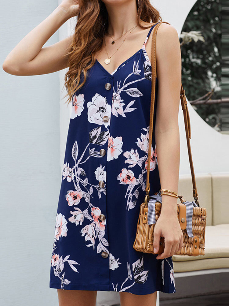 Flower Print Adjustable Strap Button Backless Summer Holiday Sexy Dress
