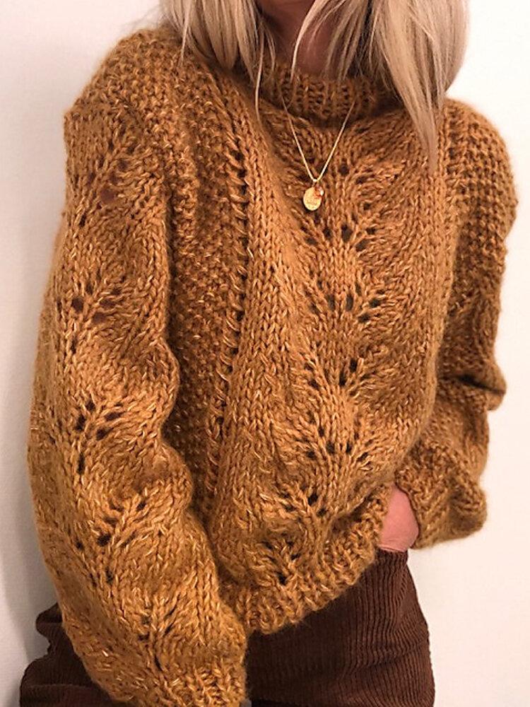 女性のための無地のルーズニットプルオーバーセーター