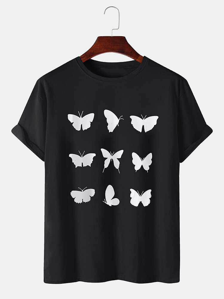 Mens Lovely Butterfly Printed Breathable Loose Round Neck T-shirts