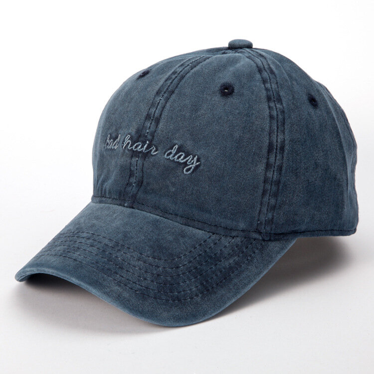 Women Mens Washed Bad Hair Day Embroidery Letters Baseball Hat Casual Retro Visor Cool Hat